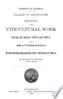Report of Viticultural Work During the Seasons