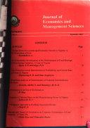 Journal of Economics and Management Sciences