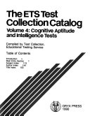 The Ets Test Collection Catalog Cognitive Aptitude And Intelligence Tests Book PDF