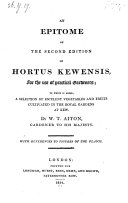 An Epitome of the Second Edition of Hortus Kewensis