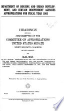 Department of Housing and Urban Development, and Certain Independent Agencies Appropriations for Fiscal Year 1983