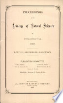 Proceedings Of The Academy Of Natural Sciences Part Iii Sept Dec 1898