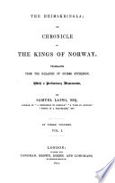 The Heimskringla Or Chronicle Of The Kings Of Norway