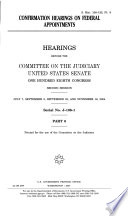 Confirmation Hearing on Federal Appointments