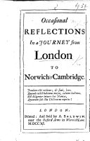 Occasional Reflections in a Journey from London to Norwich and Cambridge   A supplement  in verse   Bridgewater   MS  notes