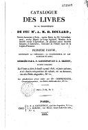 Catalogue des livres de la bibliothèque de feu Mr. A. M. H. Boulard