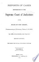 Reports Of Cases Determined In The Supreme Court Of Judicature Of The State Of New Jersey