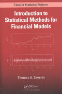 Cover image of Introduction to statistical methods for financial models