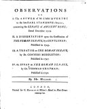 Observations on I. the Answer of M. l'Abbé de Vestot, to ... Earl Stanhope's Inquiry concerning the Senate of Ancient Rome ...II. A dissertation upon the Constitution of the Roman Senate, by a Gentleman ...III. A Treatise on the Roman Senate by Dr. C. Middleton ...IV. An Essay on the Roman Senate by Dr. T. Chapman