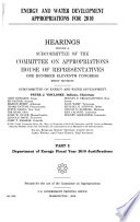 Energy and Water Development Appropriations for 2010