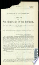 Letter from the Secretary of the Interior  in Relation to the Affiars of the Indians at the Pine Ridge and Rosebud Reservations in South Dakato Book
