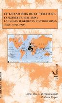 Pdf Le Grand Prix de littérature coloniale 1921-1938 : Telecharger