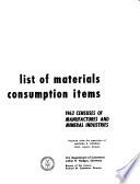 List Of Materials Consumption Items