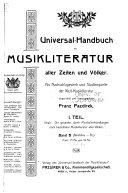 Universal-handbuch der musikliteratur aller zeiten und völker