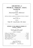 Archives of Physical Therapy, X-ray, Radium