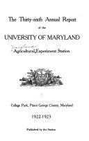 Annual Report   Maryland Agricultural Experiment Station