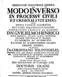 Dissertatio inauguralis iuridica de modo inverso in processu civili et criminali vitando