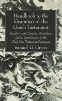 Pdf Handbook to the Grammar of the Greek Testament Telecharger
