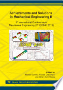 Achievements and Solutions in Mechanical Engineering II