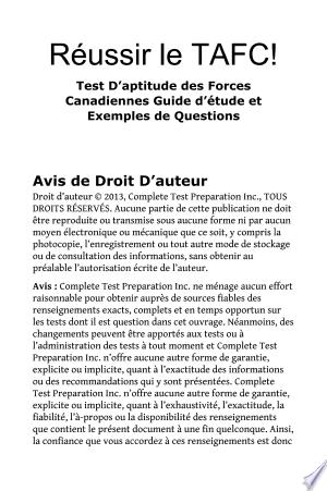 Download Réussir le TAFC! Test D'aptitude des Forces Canadiennes Guide d'étude et Exemples de Questions Free Books - Read Books