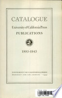 Catalogue, University of California Press Publications