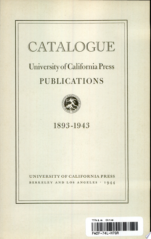 Catalogue, University of California