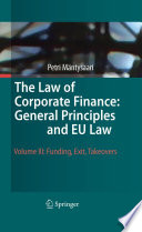 The Law of Corporate Finance  General Principles and EU Law Book