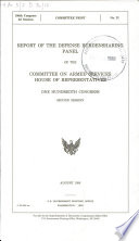 Report of the Defense Burdensharing Panel of the Committee on Armed Services, House of Representatives, One Hundredth Congress, second session