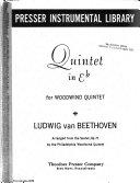 Quintet in E  flat  for Woodwind Quintet Book