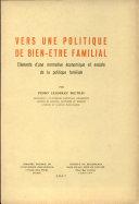 Pdf Vers une politique de bien-être familial Telecharger