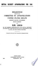 Mutual Security Appropriations for 1961