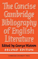 The Concise Cambridge Bibliography Of English Literature 600 1950