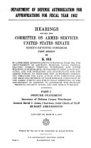 Department of Defense Authorization for Appropriations for Fiscal Year 1982