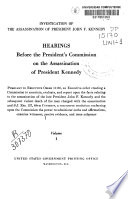 Hearings Before the President's Commission on the Assassination of President Kennedy