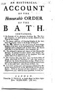 An Historical Account of the Order of the Bath, etc