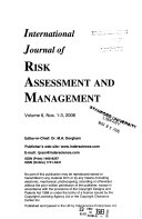 International Journal of Risk Assessment and Management