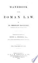 Handbook of the Roman Law