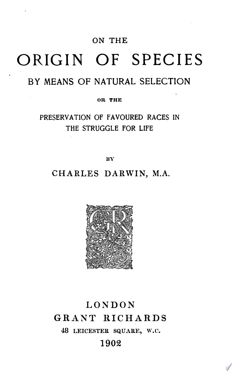 On the Origin of Species by Means of Natural Selection, Or, The Preservation of Favoured Races in the Struggle for Life banner backdrop