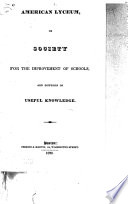 American Lyceum Or Society For The Improvement Of Schools And Diffusion Of Useful Knowledge