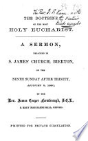 The Doctrine of the Most Holy Eucharist