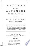 Letters from Altamont in the Capital, to His Friends in the Country