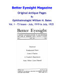 Better Eyesight Magazine-Original Antique Pages By Ophthalmologist William H. Bates - Vol.1-73 Issues - July, 1919 to July, 1925 - Natural Vision Improvement
