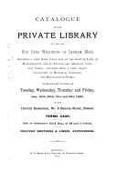 Catalogue of the Private Library of the Late Hon  Ezra Wilkinson     Including a Vary Rare Collection of the Statute Laws of Massachusetts