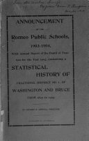 Pdf Announcement of the Romeo Public Schools, 1903-1904, with Annual Report of the Board of Trustees for the Year 1903, Containing a Statistical History of Fractional District No. 1, of Washington and Bruce from 1827-1903