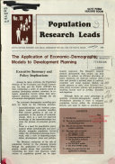 The Application of Economic demographic Models to Development Planning Book