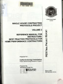 Whole House Contracting Protocols Project  Reference manual for instructors   best practice protocols for home performance contractors