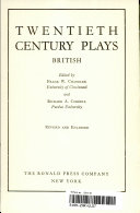 Twentieth Century Plays Book