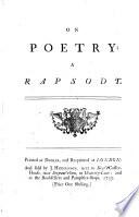 On Poetry: a Rapsody