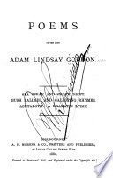 Poems of the Late Adam Lindsay Gordon