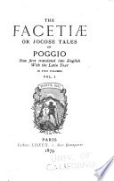 The Facetiae Or Jocose Tales of Poggio
